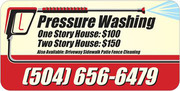 Pressure Wash (flat rate price-1 story house $100,  2 story house $150)